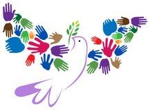 Räcker fredfågeln royaltyfri illustrationer