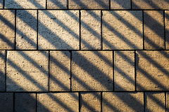 Räckeskuggalinjer över konkreta stenläggningkvarterstenar Fotografering för Bildbyråer