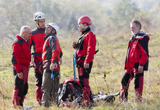 Räddare från bergräddningstjänst arkivbild