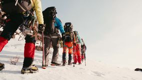 Räddareklättrare går på fötter snövesslor i tung snö, en efter annan De går runt om berget som hjälper arkivfilmer