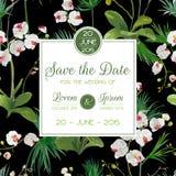 Räddning daterakortet Tropiska orkidéblommor och sidor som gifta sig inbjudan stock illustrationer