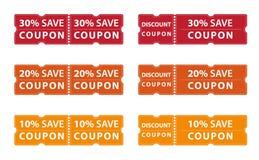 Räddning för kupongrabatterbjudande upp till 30%, 20% och 10% royaltyfri illustrationer