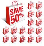 Räddning som shoppar symbolspåsar med procentsatsrabatt Royaltyfri Fotografi