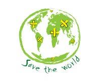 Räddningen världen skissar idébegreppsvektorn Arkivfoto