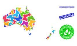 Räddningnatursammansättning av översikten av Australien och Nya Zeeland med fjärilar och skrapade vattenstämplar royaltyfri illustrationer