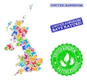 Räddningnatursammansättning av översikten av Förenade kungariket med fjärilar och nödlägevattenstämplar stock illustrationer