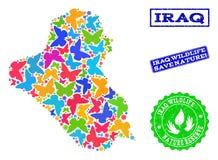 Räddningnatursammansättning av översikten av Irak med fjärilar och nödlägevattenstämplar royaltyfri illustrationer