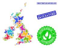 Räddningnatursammansättning av översikten av Storbritannien och Irland med fjärilar och nödlägevattenstämplar stock illustrationer
