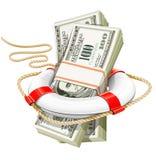 räddningsaktion för affärsidékrispengar Royaltyfri Foto