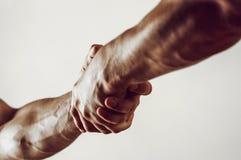 Räddningsaktion, hjälpande gest eller händer rym starkt Två händer, portionhand av en vän Handskakning armar, kamratskap royaltyfri fotografi