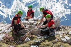 Räddningsaktion i berget av Dolomites Royaltyfria Foton