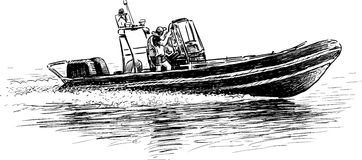 Räddningsaktionfartyg royaltyfri illustrationer