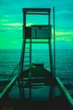 Räddningsaktionstolpe på havet Royaltyfri Fotografi