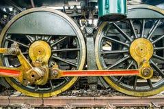 Räder des Dampflokomotivabschlusses oben Lizenzfreie Stockfotos