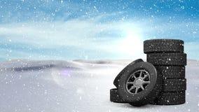 Räder mit lebhaften Schneefällen stock abbildung