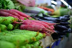 Rädisa och gurka, ny grönsak på gatamarknad i Kina royaltyfria bilder