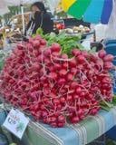 Rädisor som är till salu på bondes marknad Arkivbilder