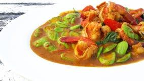 Räka i kryddig curry med sator Royaltyfria Bilder