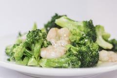 Räka med broccoli Arkivbilder