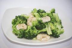 Räka med broccoli Arkivfoton