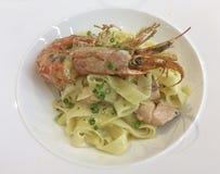 Räka och pasta Royaltyfria Bilder