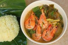 Räka stekt Rice satt vitaminguling Royaltyfri Foto