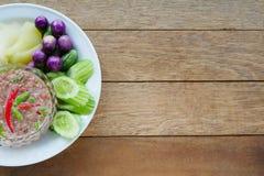 Räkadegsås och kokta grönsaker fotografering för bildbyråer