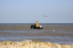 Räkafiskare på hästryggen, Oostduinkerke, Belgien Arkivfoton