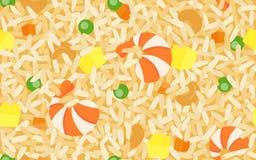 RäkaFried Rice sömlös modell vektor illustrationer