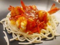 Räkan för spagettisås Fotografering för Bildbyråer