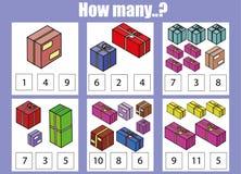 Räkna bildande barn lek, ungeaktivitet Hur många objekt task royaltyfri illustrationer