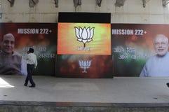 Räkna dag på BJP-huvudkontoret i Indien Royaltyfri Foto