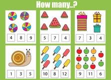 Räkna den bildande barnleken Hur många objekt task Arkivfoton