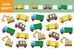 Räkna den bildande leken för barn Transporterar hur många bilar? Matematik stock illustrationer