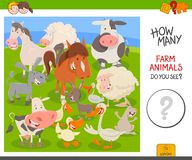 Räkna den bildande leken för lantgårddjur royaltyfri illustrationer
