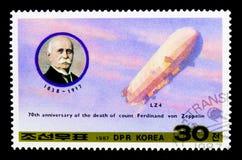 Räkna den Ferdinand von Zeppelin 70th dödårsdagen, transportserie, circa 1987 royaltyfria foton