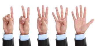 räkna den isolerade handen Arkivbilder