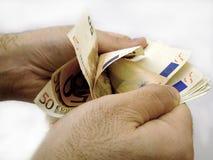 räkna euro Royaltyfria Bilder