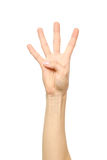 Räkna för hand Fyra fingrar isolerat Arkivbild