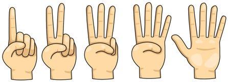 Räkna finger 1,2,3,4 och 5 royaltyfri illustrationer