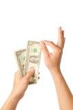 räkna handpengar Arkivfoto