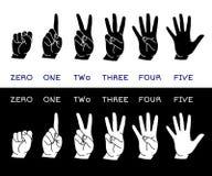 Räkna handuppsättningen stock illustrationer