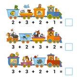 Räkna leken för barn Räkna djuren på drevet royaltyfri illustrationer