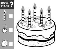 Räkna leken för barn Räkna hur många kakaingredienser royaltyfri illustrationer