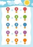 Räkna leken för barn Tilläggsarbetssedlar med ballonger Arkivfoto