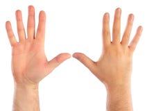 räkna male händer Arkivfoto