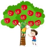 Räkna nummer med äpplen på trädet stock illustrationer