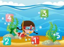 Räkna nummer med att dyka för flicka som är undervattens- royaltyfri illustrationer