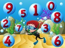 Räkna nummer med att dyka för pojke som är undervattens- stock illustrationer