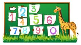 Räkna nummer ombord med giraffet vektor illustrationer